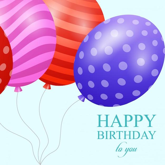 Tarjetas de feliz cumpleaños con vector de diseño elegent Vector Premium