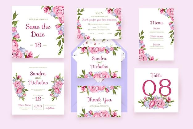 Tarjetas florales con flores de marco papelería de boda en rosa vector gratuito