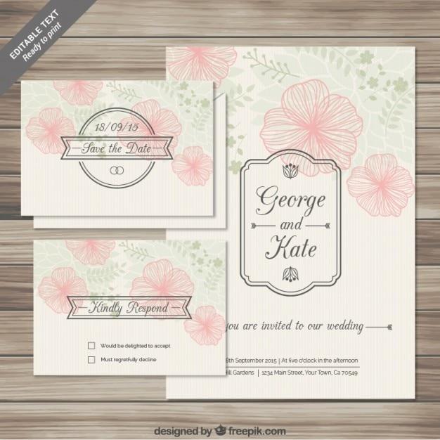 Tarjetas florales de invitación de boda en estilo esbozado vector gratuito