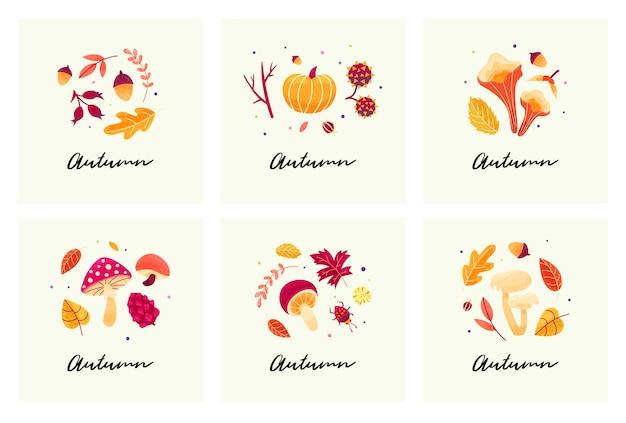 Tarjetas de humor otoñales con composiciones otoñales de hojas, setas, ramitas, escarabajos y semillas. Vector Premium