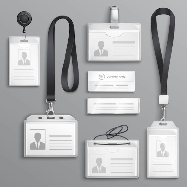 Tarjetas de identificación insignias conjunto de muestras vector gratuito