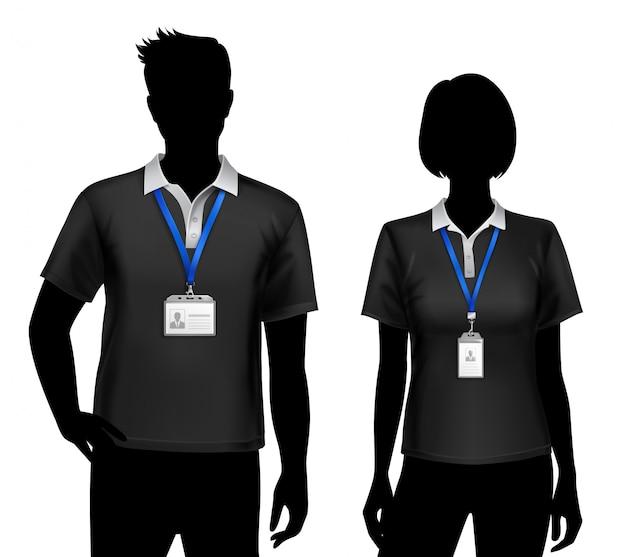 Tarjetas de identificación de siluetas de empleados vector gratuito