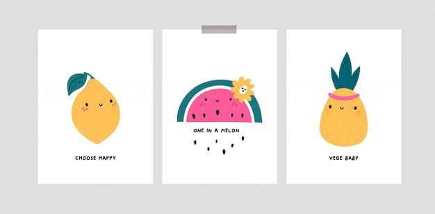 Tarjetas infantiles con personajes de dibujos animados lindo frutas. limón, sandía Vector Premium