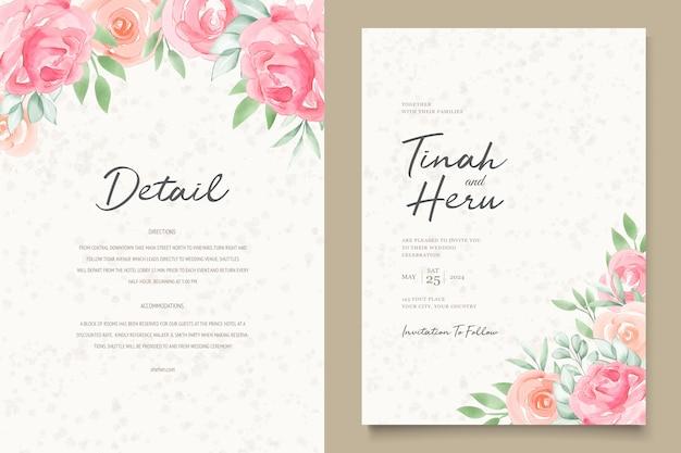 Tarjetas de invitación de boda floral acuarela vector gratuito