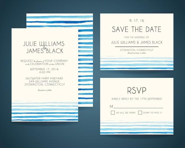 Tarjetas de invitación de boda con fondo de acuarela Vector Premium