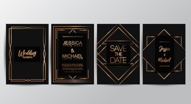 Tarjetas de invitación de boda de lujo premium Vector Premium