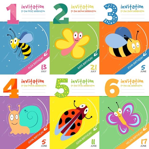 Tarjetas De Invitación De Cumpleaños De Niños Con Insectos