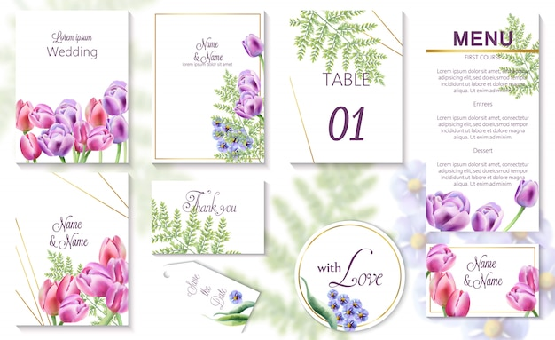 Tarjetas de invitación de evento de boda de primavera de acuarela con flores de tulipán y campanilla Vector Premium