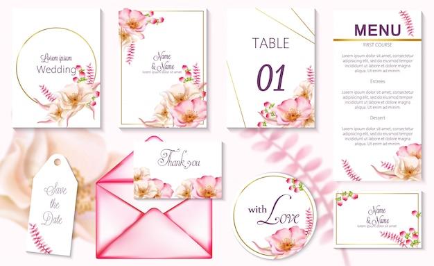 Tarjetas de invitación de evento de primavera acuarela con flores rosas en flor Vector Premium