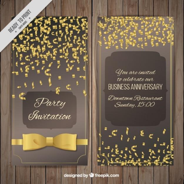 Tarjetas De Invitación De Fiesta Con Confeti Dorado Vector
