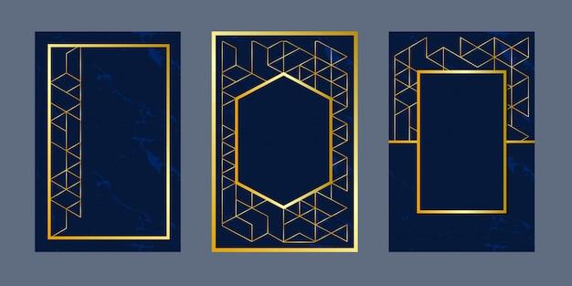 Tarjetas de invitación de fondo geométrico Vector Premium