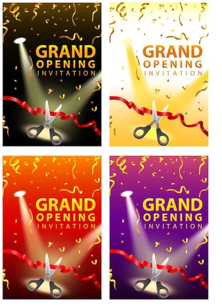 Tarjetas De Invitación De Inauguración En Cuatro Conjuntos