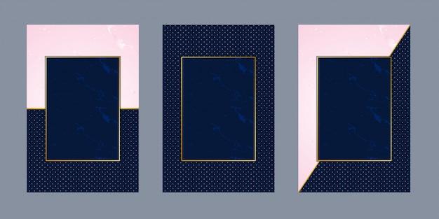 Tarjetas de invitación rosa mármol azul punto lujo oro Vector Premium