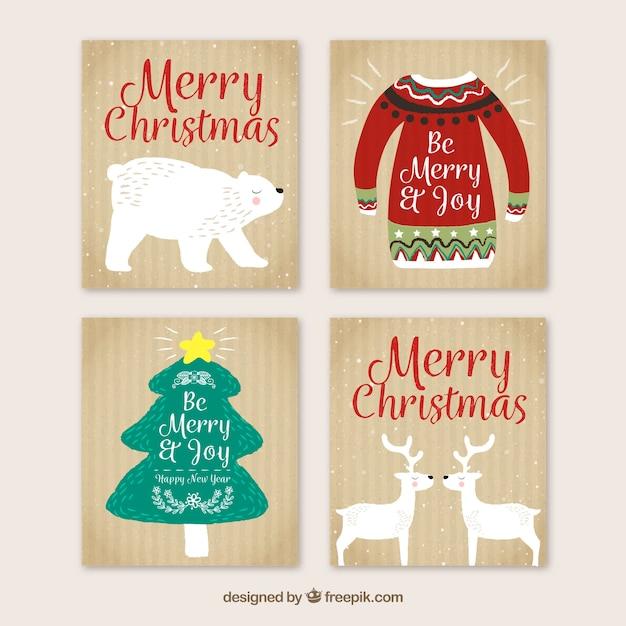 Tarjetas De Navidad Con Estilo Original Descargar Vectores Gratis - Tarjeta-de-navidad-original