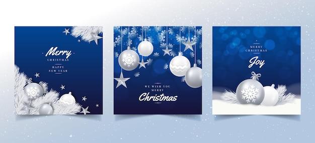 Tarjetas de navidad realistas vector gratuito