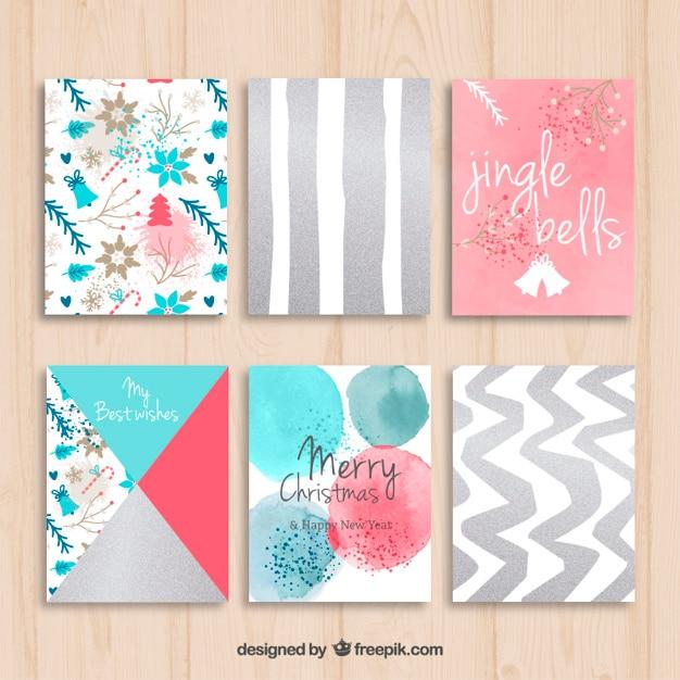 Tarjetas navide as pintadas a mano en estilo de colores descargar vectores gratis - Como hacer tarjetas navidenas a mano ...