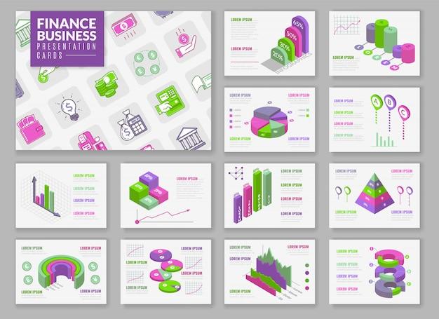 Tarjetas de presentación de infografía isométrica. tarjetas de presentación con elementos isométricos aislados para la construcción de infografías. tablas de presentación y gráficos sobre temas financieros. Vector Premium