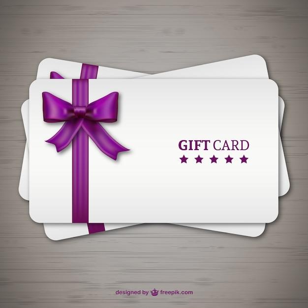 Tarjetas de regalo con lazo morado vector gratuito