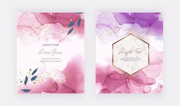 Tarjetas de tinta de alcohol rosa con marco de mármol geométrico Vector Premium