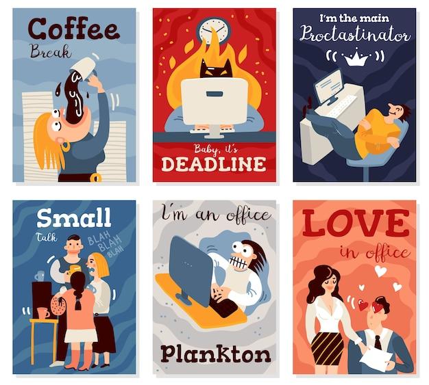 Tarjetas de trabajo de oficina con símbolos de pausa para el café ilustración aislada plana vector gratuito