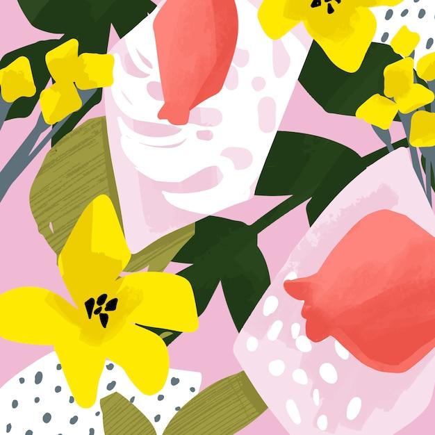 Tarjetas de vector lindo con diseño abstracto floral y fruta. flores y hojas ilustraciones de verano. Vector Premium