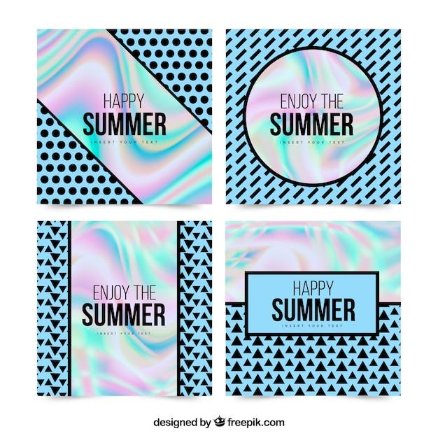 Tarjetas de verano con efecto holográfico vector gratuito