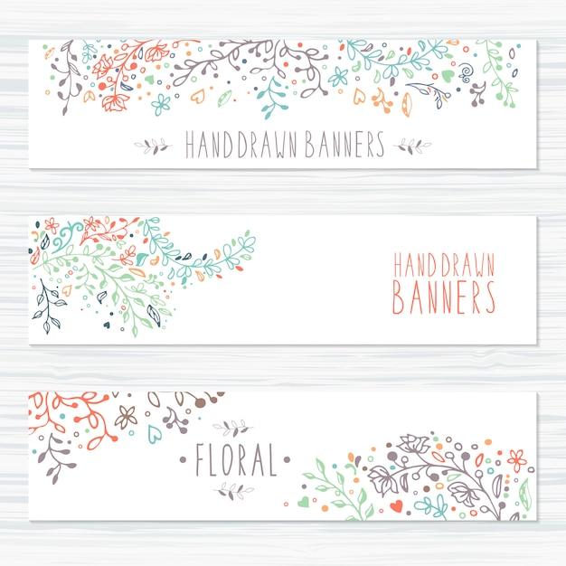 Tarjetas vintage con motivos florales y adornos florales. Vector Premium