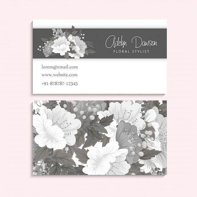 Tarjetas de visita de flores blancas y negras vector gratuito