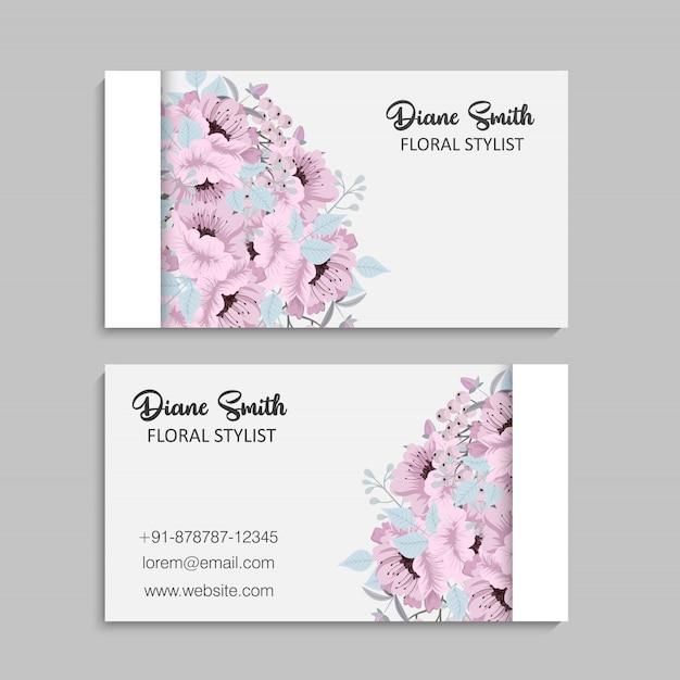 Tarjetas de visita de flores flores de color rosa y azul claro vector gratuito