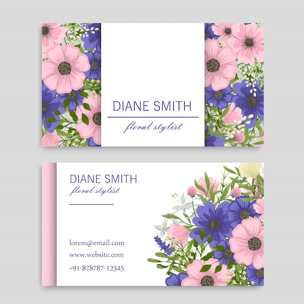 Tarjetas de visita de flores flores rosas y azules vector gratuito