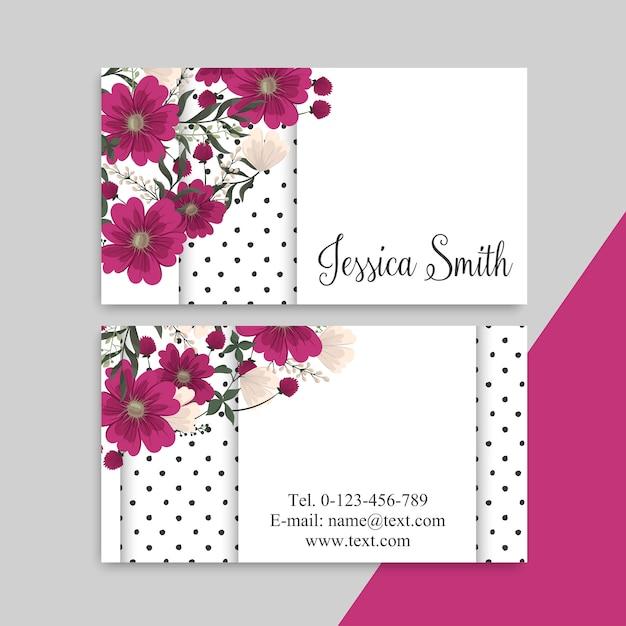 Tarjetas de visita de flores vector gratuito