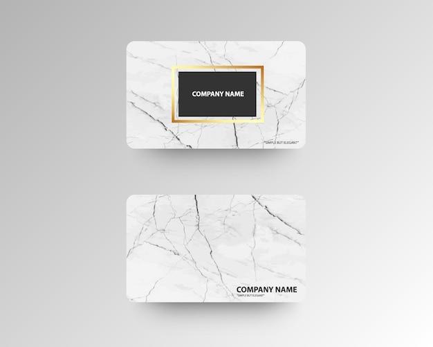 Tarjetas de visita de lujo con textura de mármol y oro Vector Premium