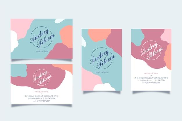 Tarjetas de visita con manchas abstractas de colores pastel Vector Premium