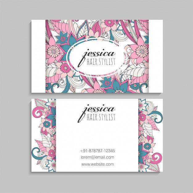 Tarjetas de visita plantilla flores dibujadas a mano vector gratuito