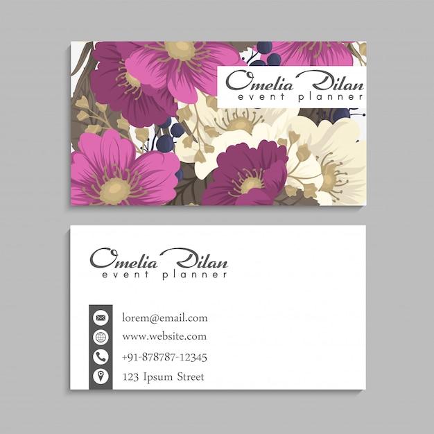 Tarjetas de visita plantilla rosa flores dibujadas a mano vector gratuito