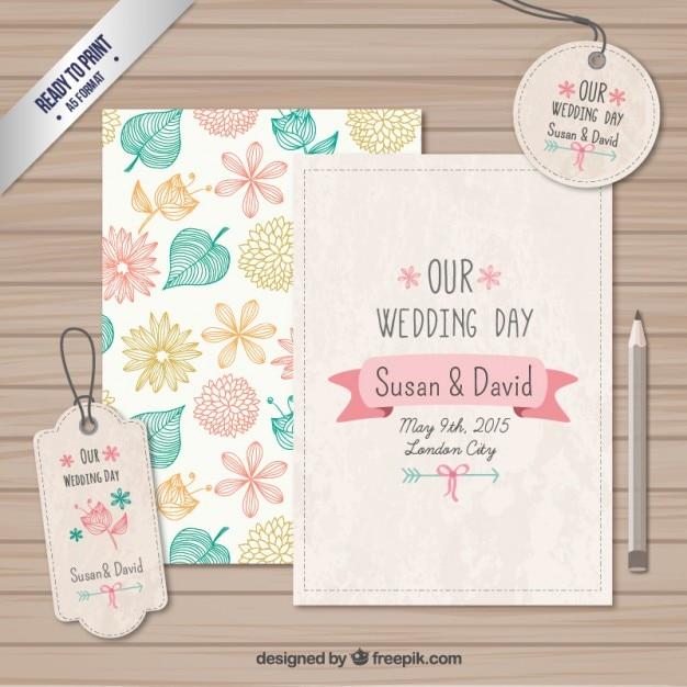 tarjetas y etiquetas de boda vector gratis