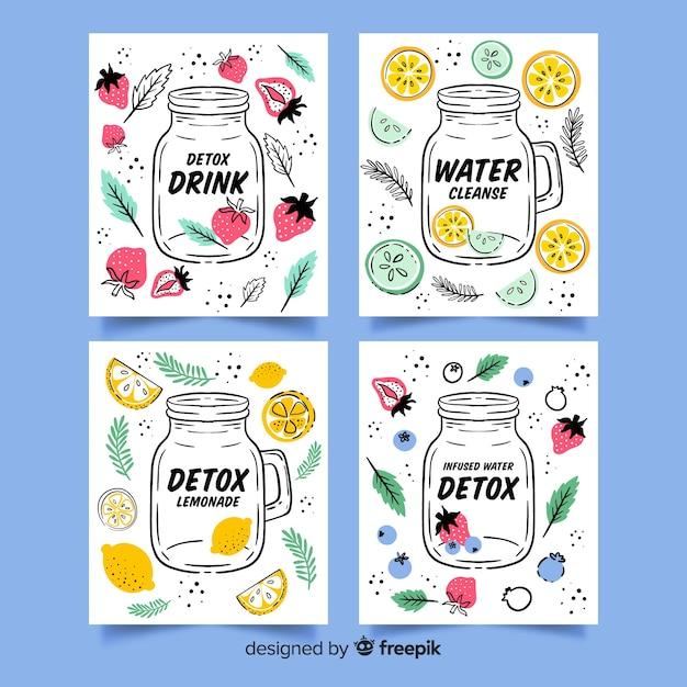 Tarjetas zumo de frutas detox acuarela vector gratuito