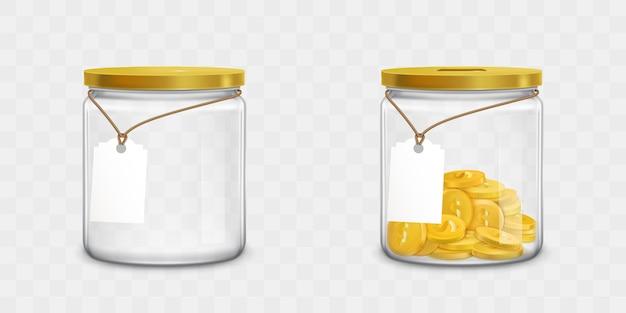Tarro de cristal con etiquetas y juego de dinero vector gratuito