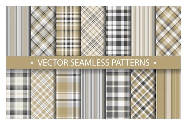 Tartan set patrón cuadros sin costuras. textura de tela geométrica. Vector Premium