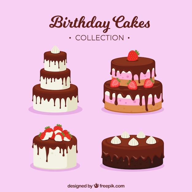 Tartas de cumpleaños deliciosas vector gratuito