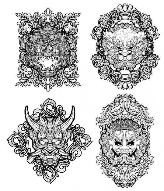 Tattoo art giant set dibujo a mano y boceto en blanco y negro Vector Premium