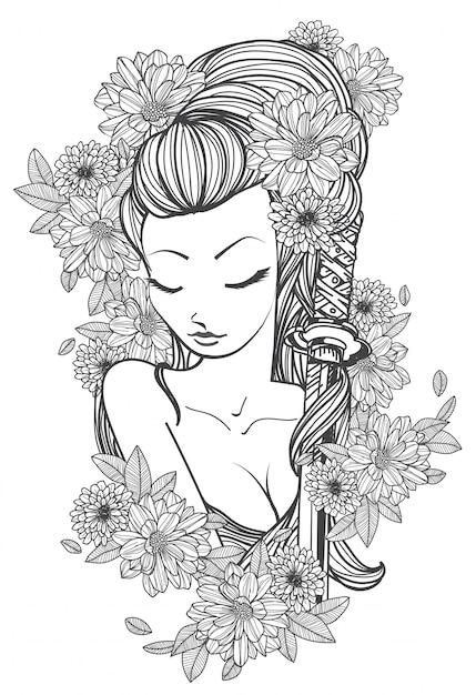 Tatúa a las mujeres del arte y dibujo a mano y dibujo en blanco y negro. Vector Premium