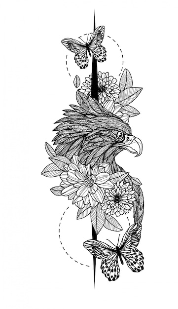 Tatuaje arte águila dibujo a mano Vector Premium
