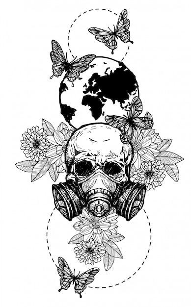 Tatuaje Arte Cráneo Flores Dibujo A Mano En Blanco Y Negro Vector Premium