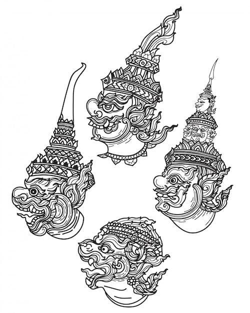 Tatuaje arte gigante conjunto mano dibujo y bosquejo blanco y negro. Vector Premium