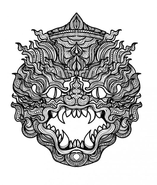 Tatuaje arte gigante tailandés mano dibujo y bosquejo blanco y negro Vector Premium