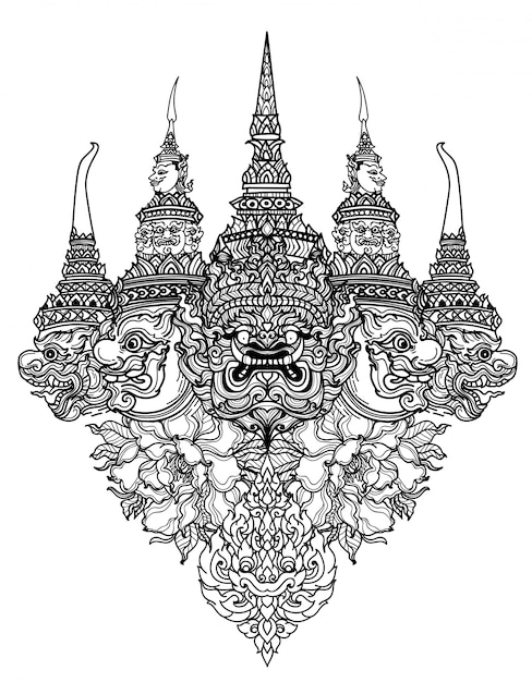 Tatuaje arte serpiente tailandesa y dibujo de dibujo de mano de literatura de patrón gigante Vector Premium