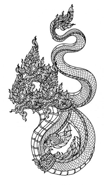Tatuaje arte tailandés serpiente patrón literatura mano dibujo boceto Vector Premium
