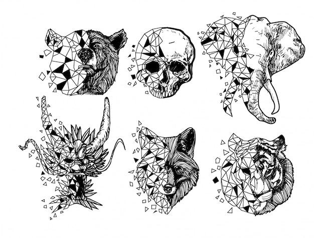 Tatuaje arte tigre dragón lobo elefante cráneo dibujo y boceto en blanco y negro Vector Premium