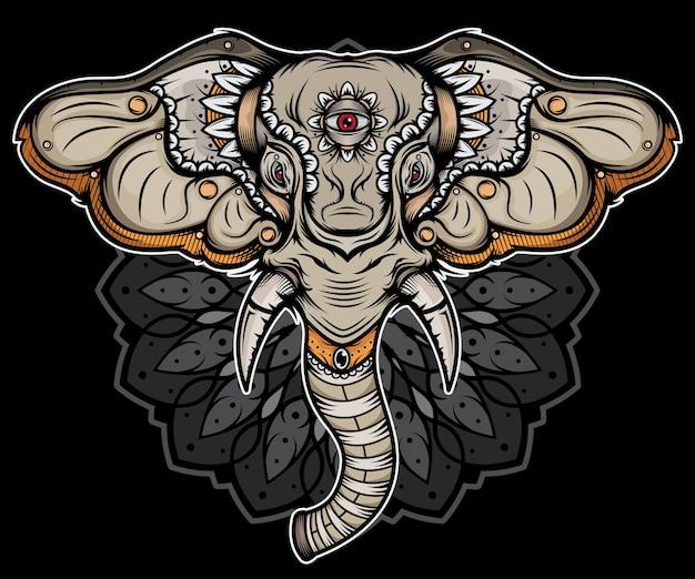 Tatuaje de cabeza de elefante tradicional Vector Premium